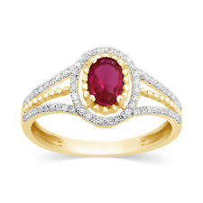 .70Ct Oval Cut Natural 6x4mm Ruby & Diamond Halo Engagement Ring 14k Yellow Gold