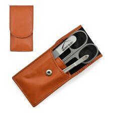 Hans Kniebes Sonnenschein 3-Piece Manicure Set  Nappa Leather Case   Orange