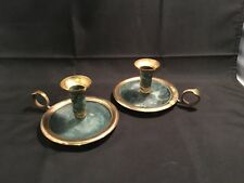 Candle Holders – 2 Pieces Set from India – Brass & Green Colour
