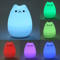USB Silicone Cat LED Children Animal Night Light Soft Cartoon Baby Light Lamp