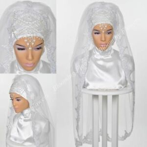 Stunning Elegant Veils For Muslim Wedding Headwear One-Layer Lace Edges Veil New