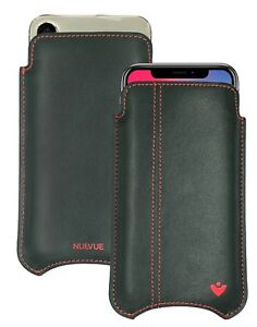 For Apple iPhone X/Xs Case Black Napa Leather NueVue Screen Cleaning Sanitizing