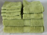 DKNY Eight Piece Solid Soft Avocado Green Bathroom Towel Set 100% Cotton New