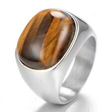 Nice Men's Solid Heavy Stainless Steel Manmade Tiger's Eye Ring Size 7-13 Gift