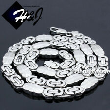 "24""MEN Stainless Steel 8mm Silver Flat Byzantine Box Chain Necklace Bracelet*159"