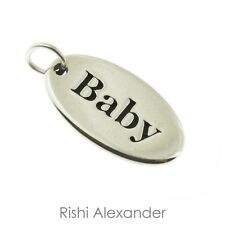925 Sterling Silver Oval Baby Tag Charm Made in USA
