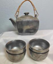 Vintage Black Tea Pot and 4 Tea Bowls Metalic Glaze Kafun Japan
