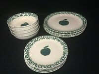 FOLKCRAFT TIENSHAN Green Apple Spongeware  Plates/Bowls Green/White Fruit