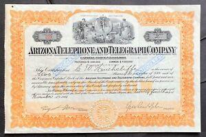 ARIZONA TELEPHONE & TELEGRAPH Stock 1911. Tucson. RR Exec. & Pres. Epes Randolph