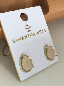 New Samantha Wills stud earrings in rose quartz & gold