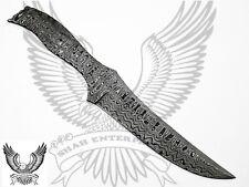Damascus Custom Handmade Blank Blade Bowie Knife Ladder Pattern 13.00 Inches