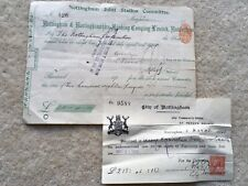 SCARCE 1914 VINTAGE NOTTINGHAM JOINT STATION COMMITTEE £218 BILL RECEIPT