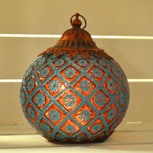 Moroccan Style Blue Patterned Glass LED Lantern Home Decor Gift New & Boxed