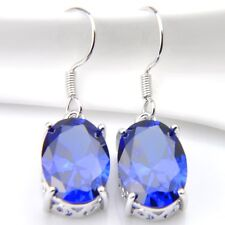 925 sterling Silver Plated Dark Blue Sapphire Gemstone Dangle Hook Earrings