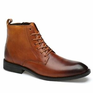 Mens Genuine Leather Side Zipper Short Boots for Business Affairs Casual Pointed