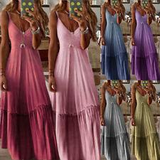 Damen Ombre Gradient Trägerkleid Ärmellos Lang Sommer Strand  Kleid Maxikleid