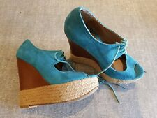 Atmosphere size 4 (37) turquoise faux suede lace up peeptoe platform wedge heels