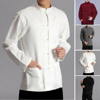Men Shirt Casual Sport Kung Fu Taichi Coat Jacket Uniform Loose Cotton Linen