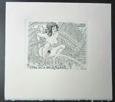 EX LIBRIS Bookplate Mark SEVERIN 226 Wright naked woman pee piss miction erotic