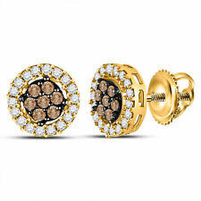 10k Yellow Gold Brown Diamond Cluster Stud Earrings 1/4