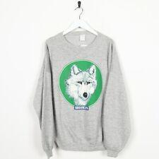 Vintage Brooklyn Wolf USA Novelty Graphic Sweatshirt Grey Green | XL