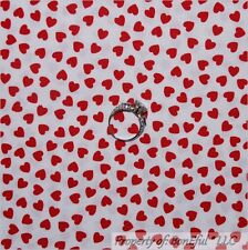 BonEful Fabric FQ Cotton Quilt White Red Valentine Sweet Heart Olivia Tiny LOVE
