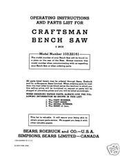 Sears Craftsman  Table Saw Manual Model # 103.22161
