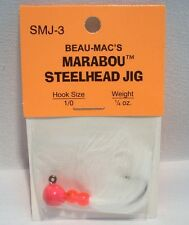 Beau-Macs Marabou Steelhead Hot Pink White 1/4 oz Fishing Jig Lure Hook Size 1/0