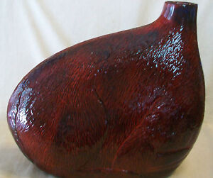 UNIQUE HAND BLOWN RED GLASS VASE WITH DEER ON SIDES