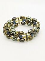 Vintage Monet Gold Tone Green Faux Pearl Wide Stretch Bracelet