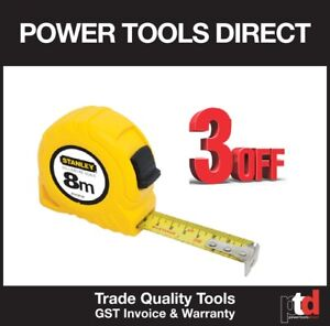 NEW STANLEY 8 METRE 8M TAPE MEASURE YELLOW - HEAVY DUTY QUALITY  3 OFF