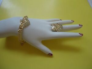 2/Two/ PC Gold Plated Clear rhinestone Bracelet And Ring Set     #2014