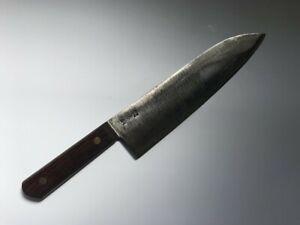 T0510 Japanese Kitchen Knife Santoku Hocho Vintage Signed Blade Handle