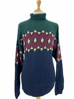 Vintage London Fog Men's Multicolor Turtleneck Sweater Knit Geometric XL Rare