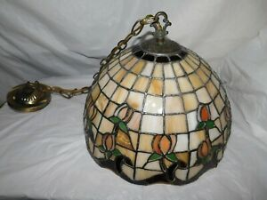 leaded glass tiffany hanging light fixture chandelier ceiling lamp arts crafts