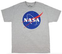 NASA Mens Unisex S/S T-Shirt STARS GALAXY Official Logo GREY Astronaut S-2XL $30