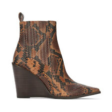 Hadriana Brown Anaconda Print Leather Wedge Heel Ankle Boot.