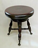 Antique Chas Parker Co. American Mahogany Claw Foot Piano Stool - Doesn't Swivel