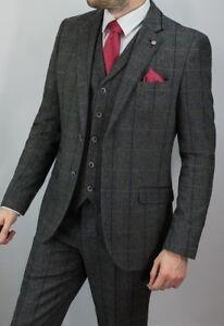 Men's 3 Piece Tweed Herringbone Check Grey Slim Fit Vintage Suit- Peaky Blinder