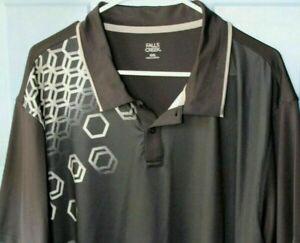 Falls Creek Men's 2XL Black & Gray Polo Golf Shirt Short Sleeve Athletic NWTs