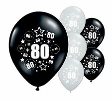 "10 x 80TH BIRTHDAY BLACK AND SILVER 11"" HELIUM OR AIRFILL BALLOONS (PA)"