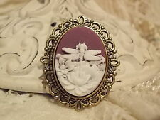 Dragonfly & Lotus Flower Cameo Brooch
