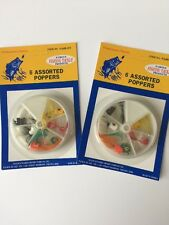 FISHING POPPERS- 6 ea  in a Dial box (2 boxes- 12 poppers) assorted colors
