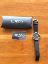 Oozoo chronograph watch Genuine Black Leather Strap - Water Resistant Nickel