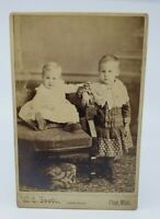 Antique Victorian 1886 photograph Kids Children Two little Siblings Cute