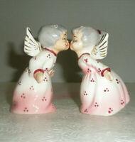 Vintage Angel Kissing Grandma Grandpa Salt and Pepper Shakers Gray Hair