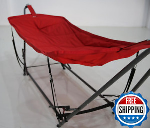 Camping Hammock Freestanding Hanging Outdoor Patio Lightweight Carry Portable