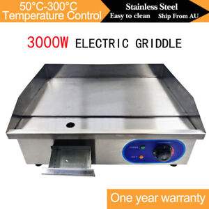 3000W Electric Griddle Hotplate BBQ Grill Plate Stainless Steel Commercial AU
