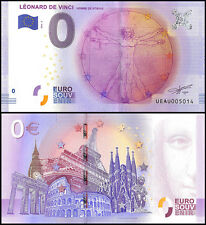 Zero (0) Euro Europe, 2016-2, UNC, Homme De Vitruve, Leonard De Vinci in France