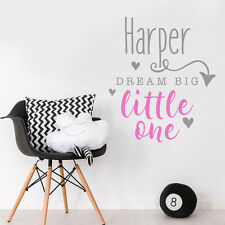 Custom Personalise Dream Big Little One Quote Baby Girl Bedroom Wall Sticker